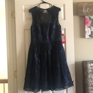 Short Formal Midnight Blue Lace Dress